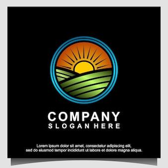 Пейзаж природа сельское хозяйство логотип дизайн вектор