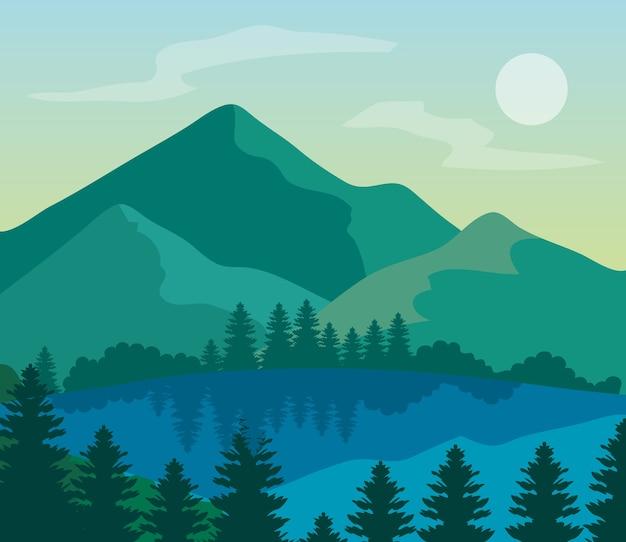 풍경 자연과 호수, 산 소나무.