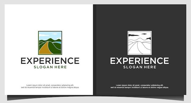 풍경 자연 산 숲 녹색 로고 디자인 일러스트 레이션