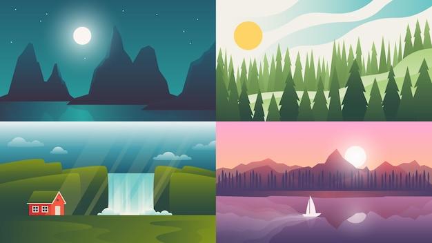 Пейзаж. природный пейзаж с горами, водопадом и холмом
