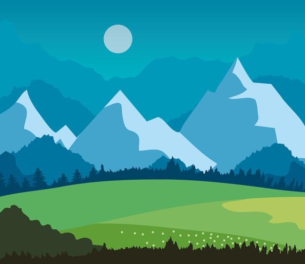 잔디 필드와 산 풍경 자연.