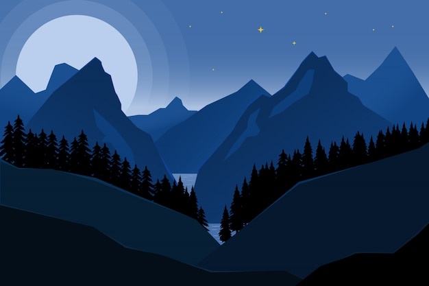 Landscape of night mountains in  style.  element for poster, banner.  illustration