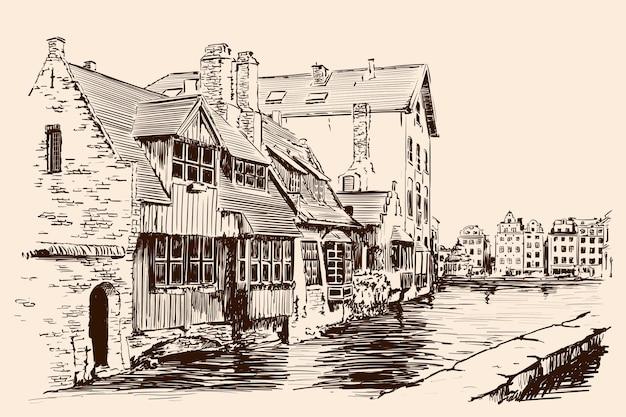 古いれんが造りの家と川の水路があるヨーロッパの都市の風景。ベージュの背景に手作りのスケッチ。