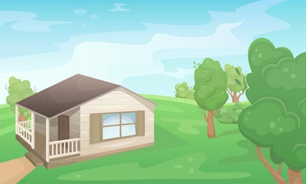 컨트리 하우스와 녹색 여름 필드의 풍경. 자연 경관. 농업 분야. 농업, 농업.