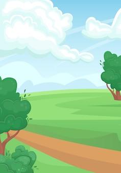 Пейзаж зеленого летнего поля с грунтовой дорогой. природный ландшафт.