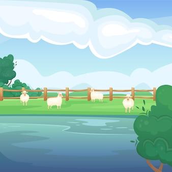 湖と羊と緑の夏のフィールドの風景。自然の風景。農業分野。農業、農業。