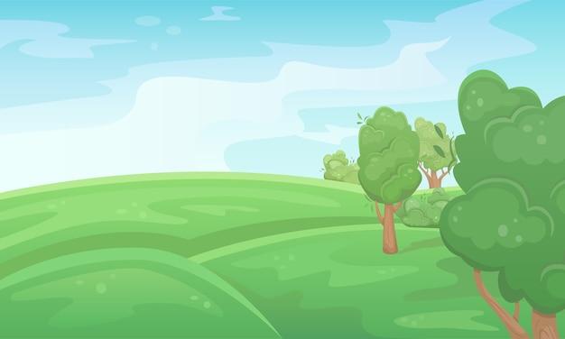 木々と緑の夏のフィールドの風景。自然の風景。農業分野。農業、農業。