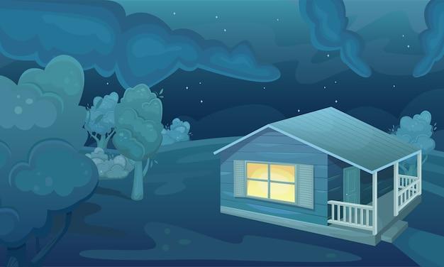 밤에 국가 집으로 여름 필드의 풍경. 자연 경관. 농업 분야. 농업, 농업.