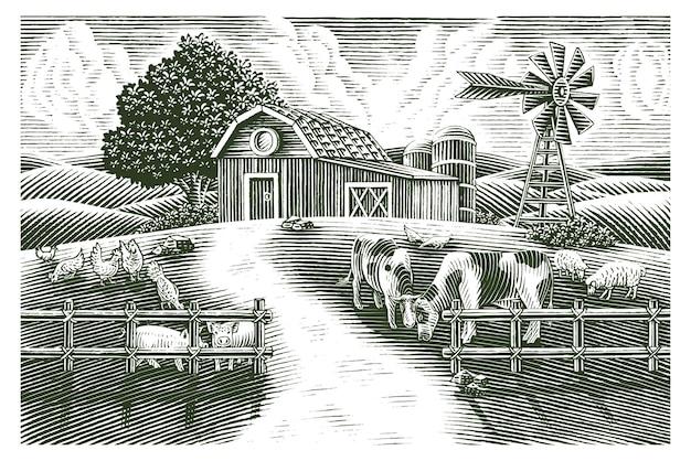 Пейзаж животноводческой фермы рука рисовать старинные гравюры стиль черно-белые картинки, изолированные на белом фоне