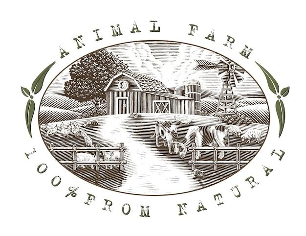Пейзаж животноводческой фермы логотип рука рисовать старинные гравюры стиль черно-белые картинки, изолированные на белом фоне