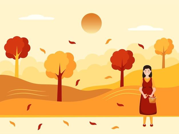 Пейзаж осеннего сезона фоном с осенними листьями