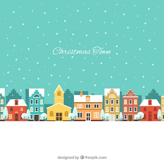 Landscape of christmas city with houses