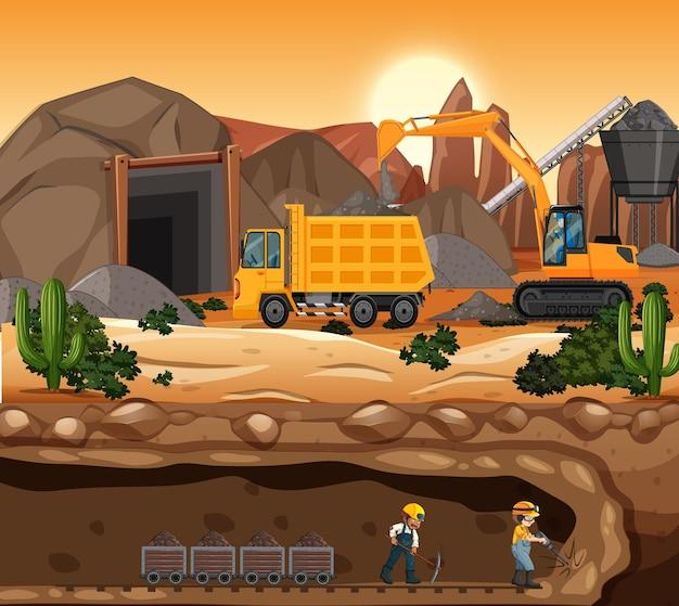 日没時の炭鉱シーンの風景