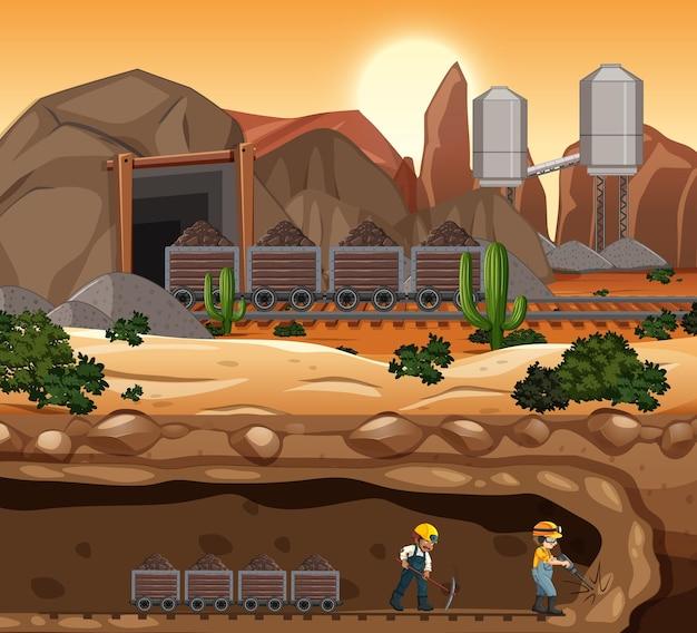 일몰 시간에 석탄 광산 현장의 풍경