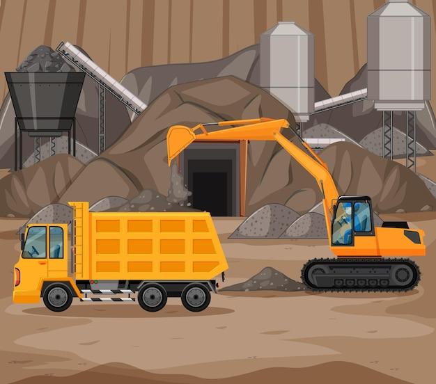 クレーンとトラックのある採炭シーンの風景