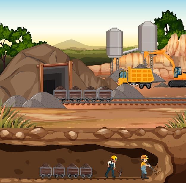 炭鉱シーンの風景