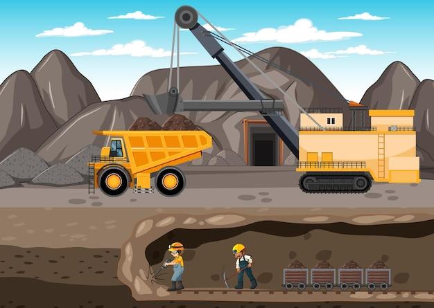 地下シーンのある炭鉱の風景