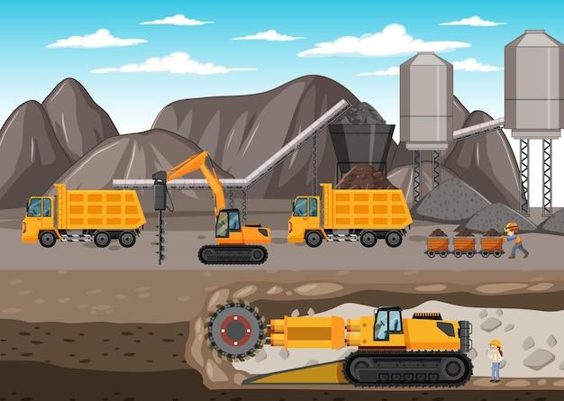 지하 장면과 석탄 광산의 풍경