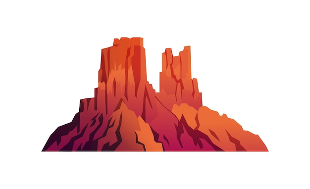 孤立した砂漠の山の赤い岩の風景