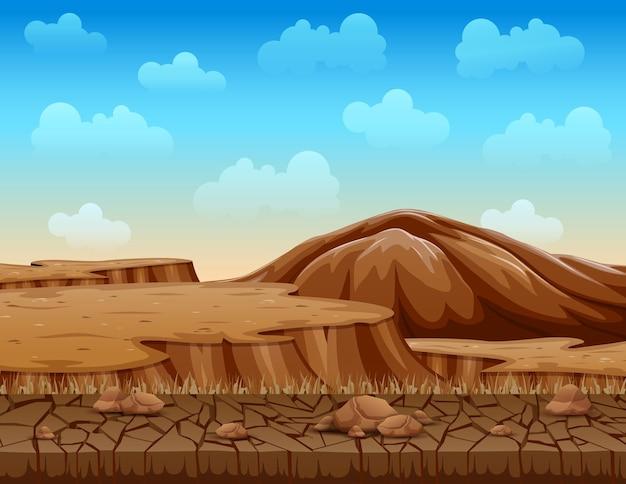 乾燥したひび割れた地面のイラストの風景