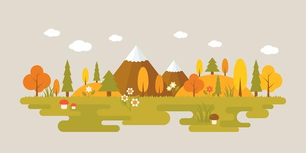Пейзаж леса осенью