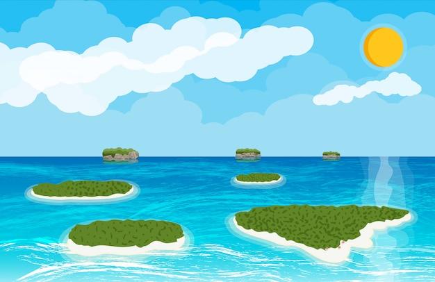 섬과 해변의 풍경입니다.