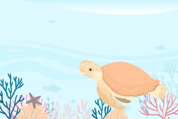 海洋生物の風景です。さまざまな動物のいる海と水中の世界。