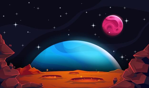 惑星地球と火星の風景