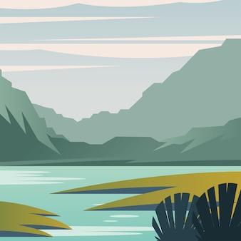 山と湖のデザイン、自然と屋外のテーマの風景。