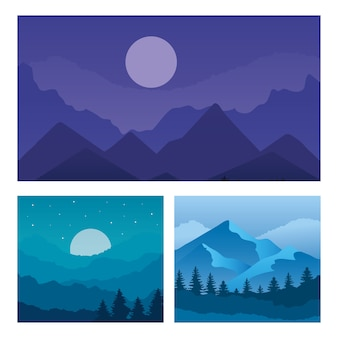 산과 소나무의 풍경 세트 디자인, 자연 및 야외 테마