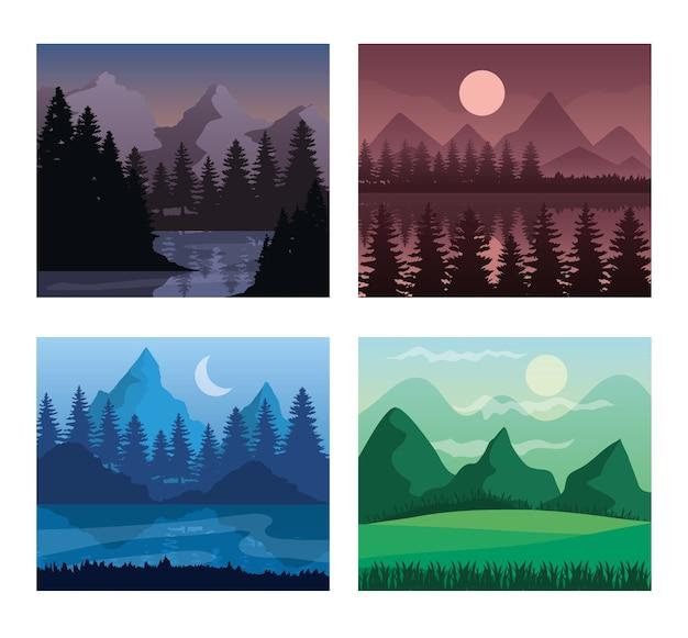 산과 소나무 나무 디자인, 자연 및 야외 테마의 풍경