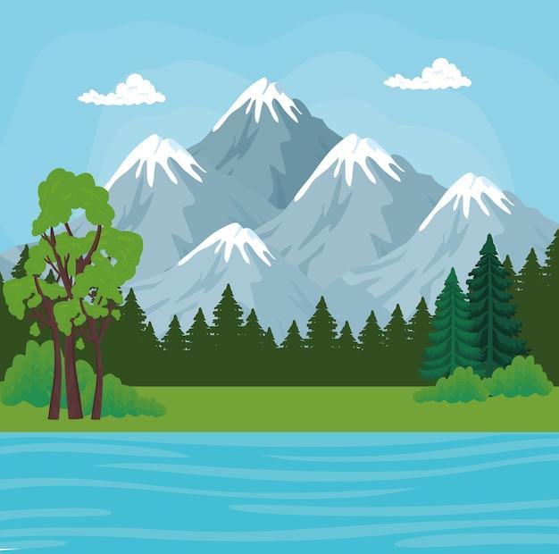 산 소나무와 강 디자인, 자연 및 야외 풍경