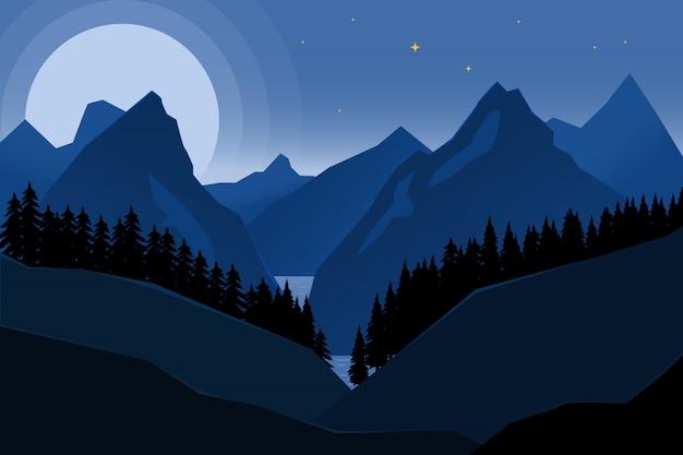 스타일에서 밤 산의 풍경입니다. 포스터, 배너 요소. 삽화