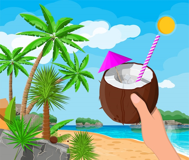 Пейзаж пальмы на пляже, коктейль