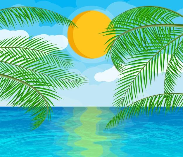 Пейзаж пальмы на пляже. солнце с отражением в воде и облаках. день в тропическом месте. векторная иллюстрация в плоском стиле