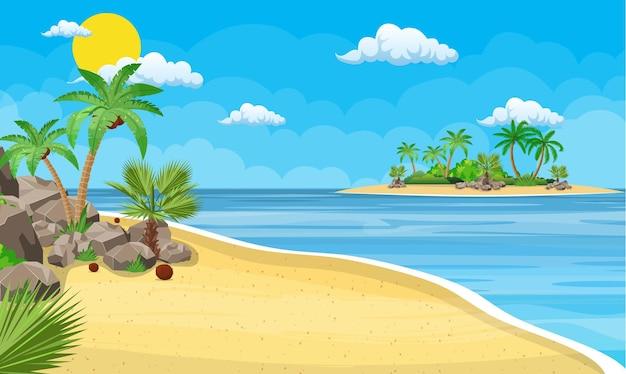 해변에서 야자수의 풍경입니다.