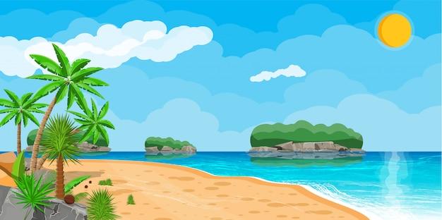 해변에서 야자수의 풍경
