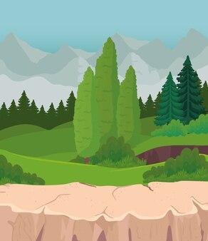 산 디자인, 자연 및 야외 앞 소나무와 관목의 풍경