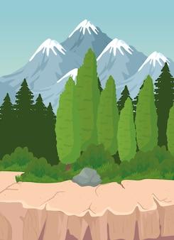 Пейзаж из сосен и камня на фоне гор дизайн, природа и открытый