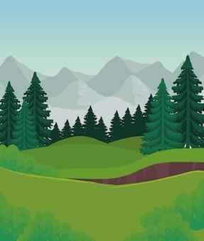 산 디자인, 자연 및 야외 앞 소나무의 풍경