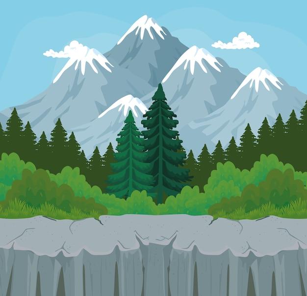 산 디자인, 자연 및 야외 앞 관목과 소나무의 풍경
