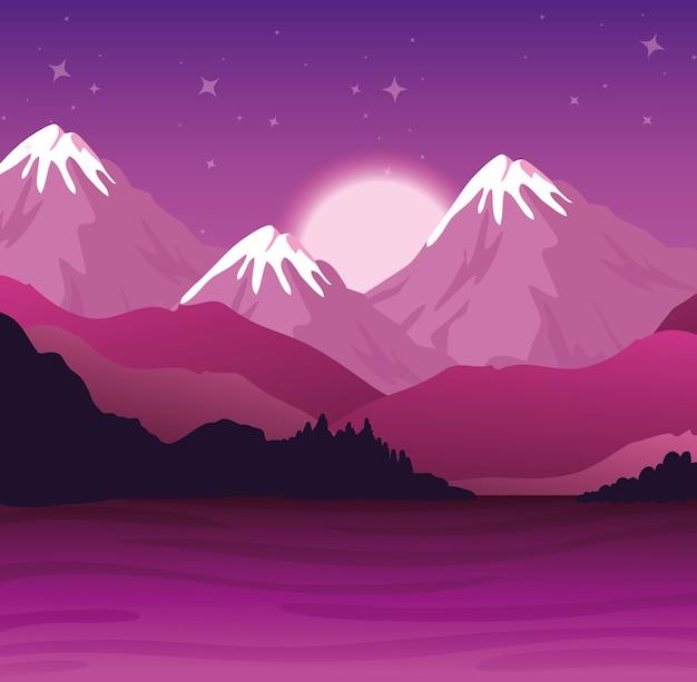 보라색 산과 강 디자인, 자연 및 야외 풍경