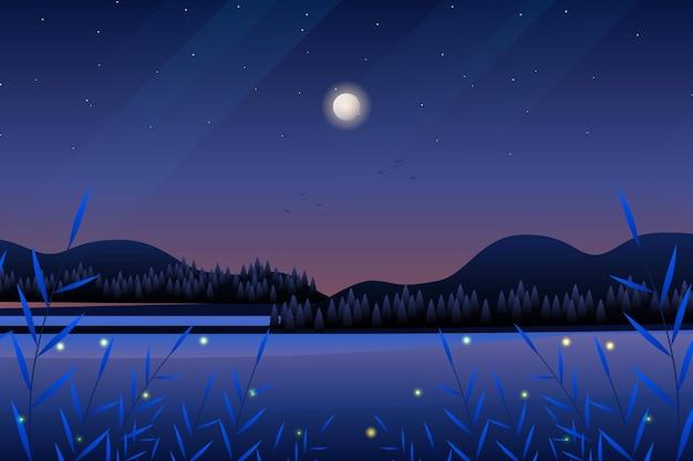 Пейзаж декорации ночного леса с морем и горами