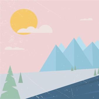 雪に覆われた丘の風景山の風景ライラックの夕日のベクトルの抽象的なパノラマビュー