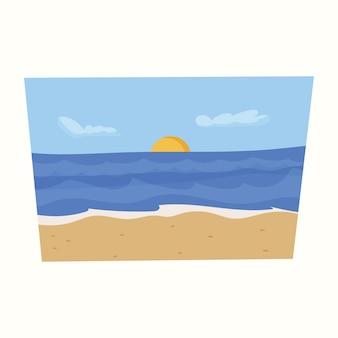 Пейзаж моря и солнца. векторная иллюстрация в плоском стиле