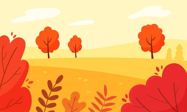 평평한 스타일의 나무와 덤불 벡터 배경이 있는 utumn 숲의 풍경