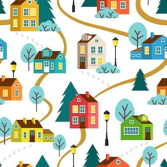마을이나 마을, 완벽 한 패턴의 풍경입니다. 플랫 만화.