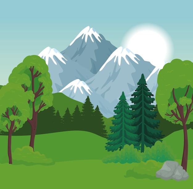 산 디자인, 자연 및 야외 앞 나무와 소나무의 풍경