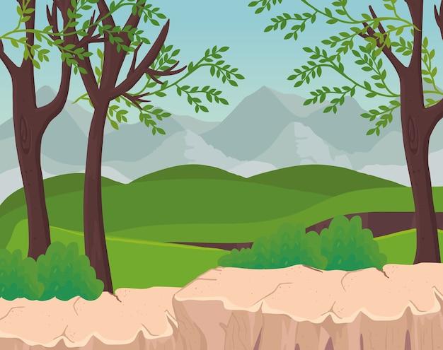 산 디자인, 자연 및 야외 앞 나무와 관목의 풍경