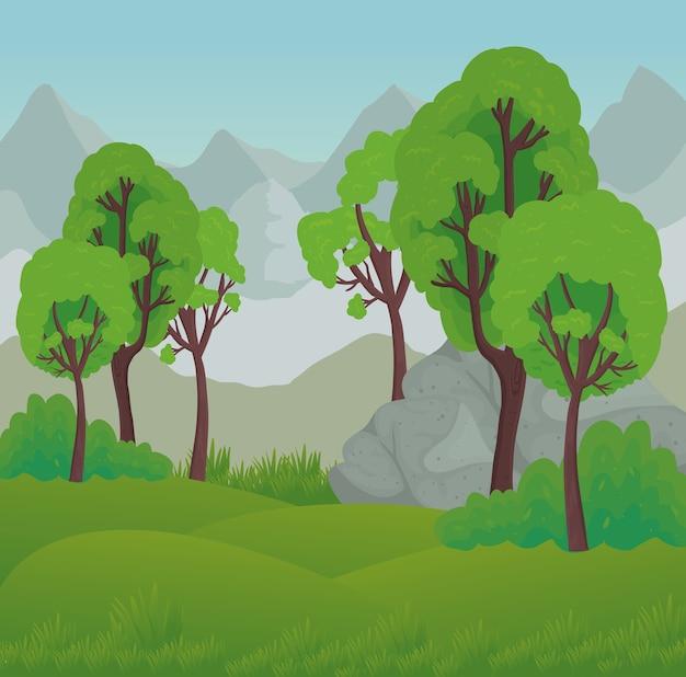 산 디자인, 자연 및 야외 앞 바위와 나무의 풍경